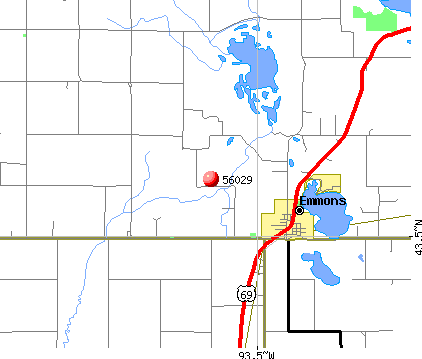 Emmons, MN (56029) map