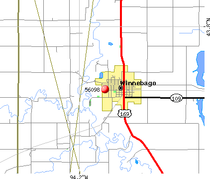 Winnebago, MN (56098) map