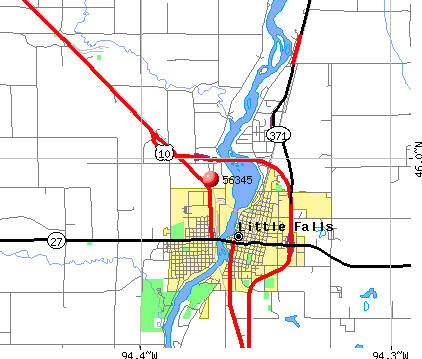 Little Falls, MN (56345) map