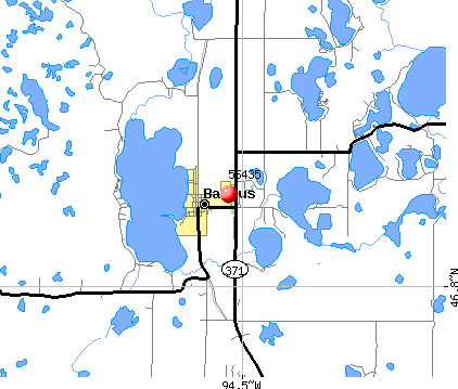 Backus, MN (56435) map