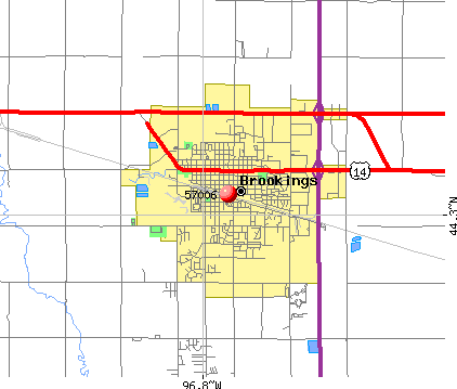 Brookings, SD (57006) map
