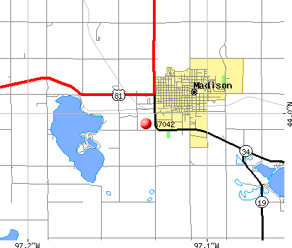 Madison, SD (57042) map