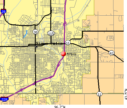Sioux Falls, SD (57103) map