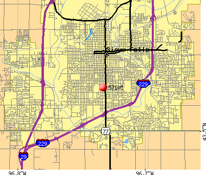 Sioux Falls, SD (57105) map