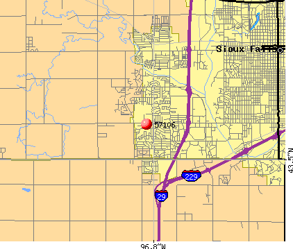 Sioux Falls, SD (57106) map