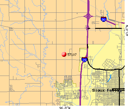 Sioux Falls, SD (57107) map