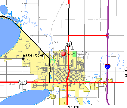 Watertown, SD (57201) map