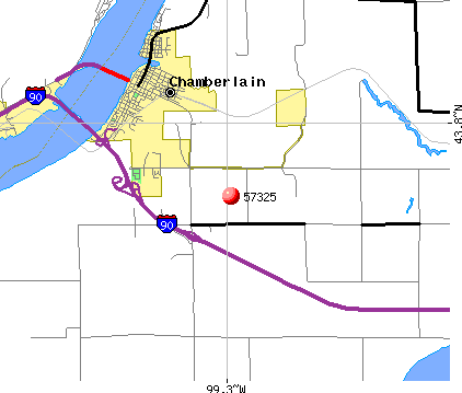 Chamberlain, SD (57325) map