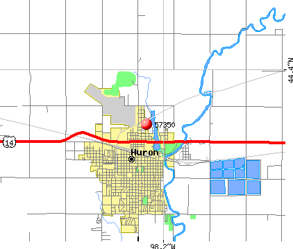 Huron, SD (57350) map