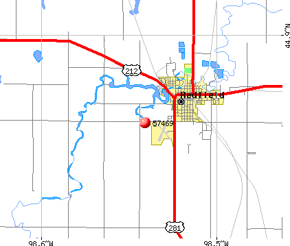 Redfield, SD (57469) map