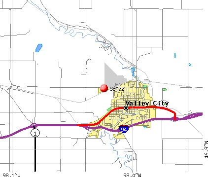 Valley City, ND (58072) map
