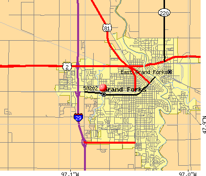 Grand Forks, ND (58202) map