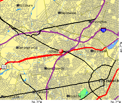 Elizabeth, NJ (07083) map