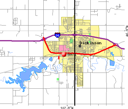 Dickinson, ND (58601) map