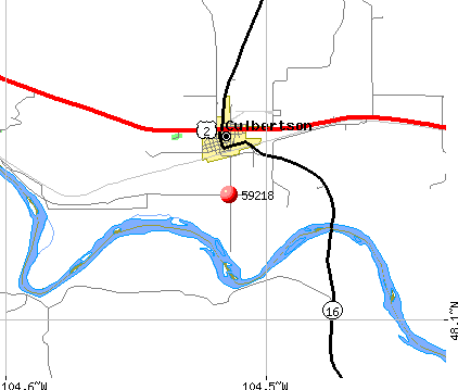 Culbertson, MT (59218) map