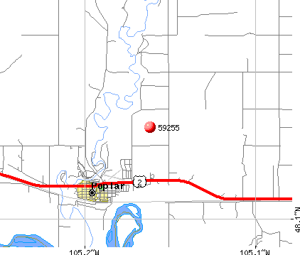 Poplar, MT (59255) map