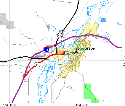 West Glendive, MT (59330) map