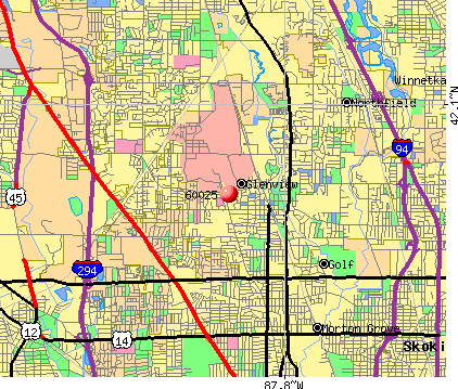 Glenview, IL (60025) map