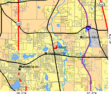 Libertyville, IL (60048) map