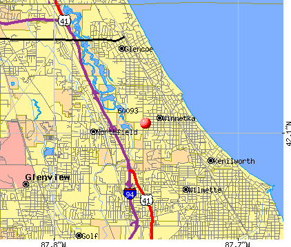Winnetka, IL (60093) map