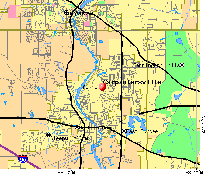 Carpentersville, IL (60110) map