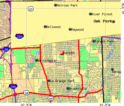 Broadview, IL (60155) map