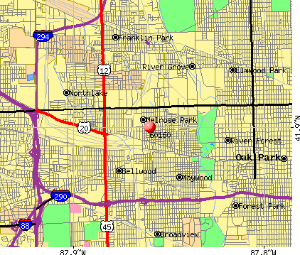 Melrose Park, IL (60160) map