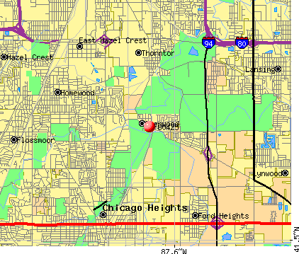 Glenwood, IL (60425) map