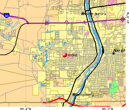 Aurora, IL (60506) map