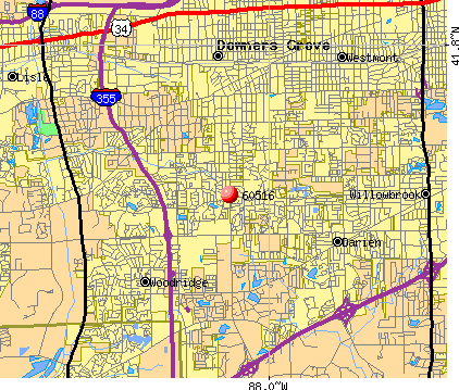 Downers Grove, IL (60516) map