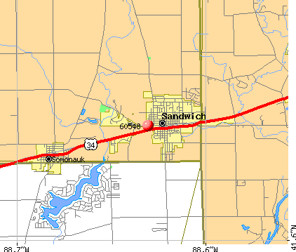 Sandwich, IL (60548) map