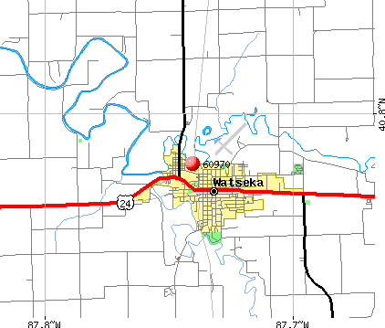 Watseka, IL (60970) map