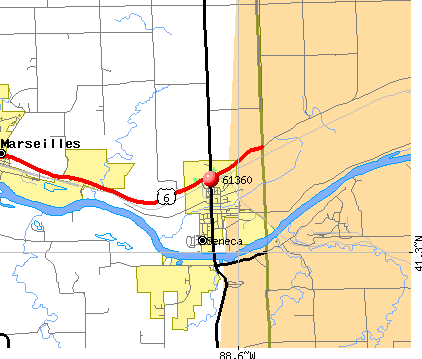 Seneca, IL (61360) map