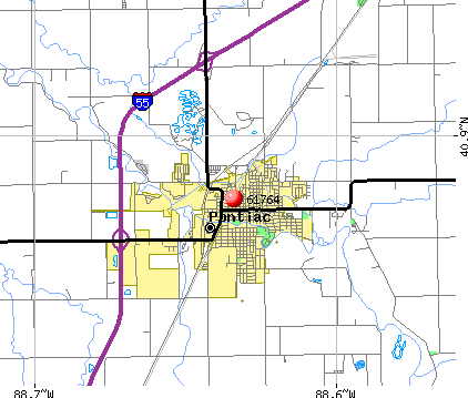 Pontiac, IL (61764) map