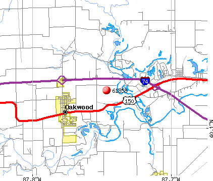 Oakwood, IL (61858) map