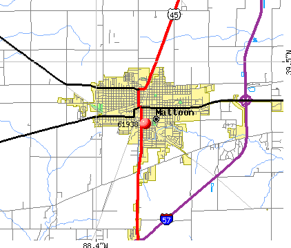 Mattoon, IL (61938) map