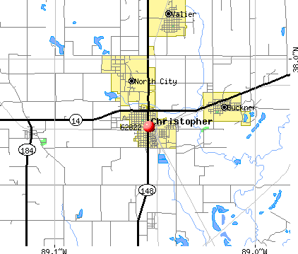 Christopher, IL (62822) map