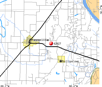 Crossville, IL (62827) map