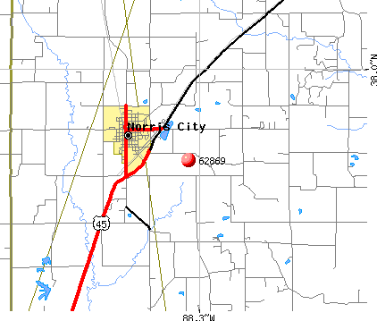 Norris City, IL (62869) map