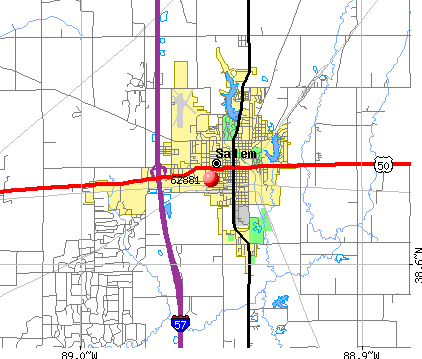 Salem, IL (62881) map