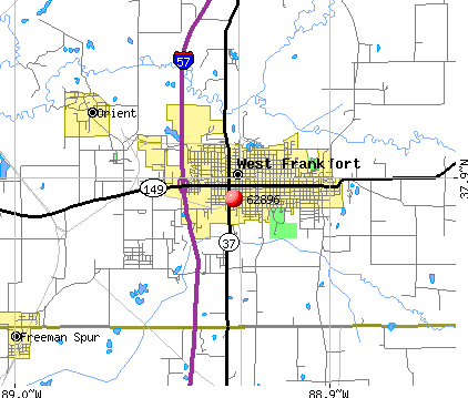 West Frankfort, IL (62896) map