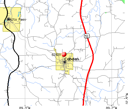 Cobden, IL (62920) map