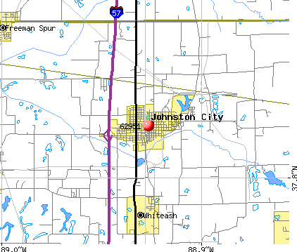 Johnston City, IL (62951) map