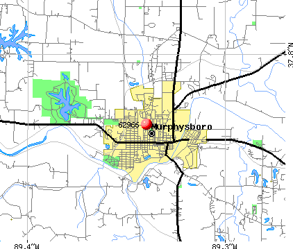 Murphysboro, IL (62966) map