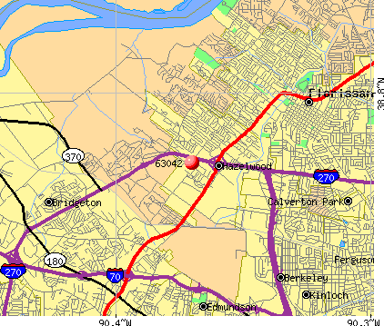 Hazelwood, MO (63042) map