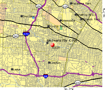 University City, MO (63130) map