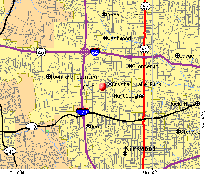 Town and Country, MO (63131) map