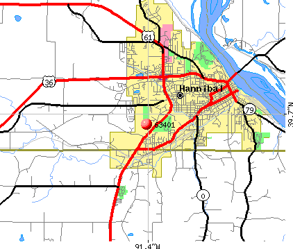 Hannibal, MO (63401) map