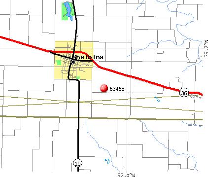 Shelbina, MO (63468) map