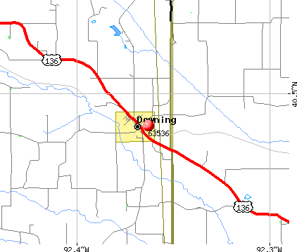 Downing, MO (63536) map